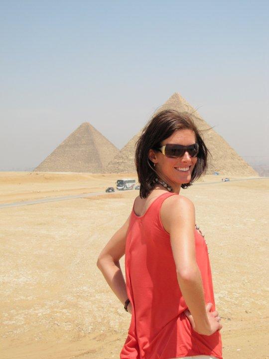 Kristi at the Giza pyramids in Egypt