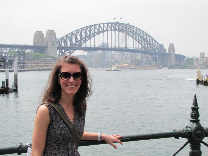 Kristi in front of the Harbor Bridge