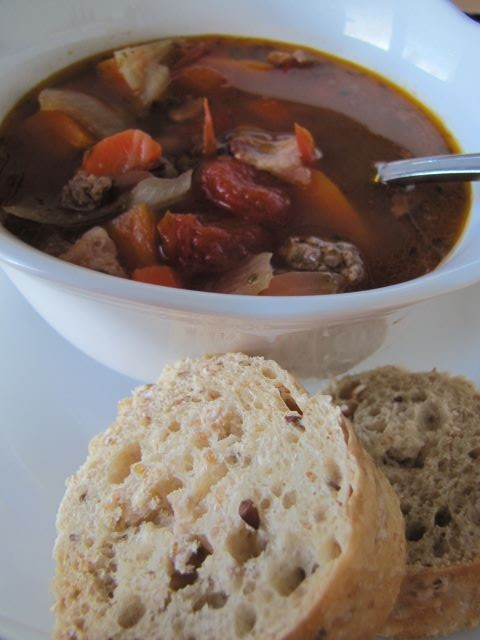 Hearty Hamburger Soup with crusty bread - easy and delicious for a cold day