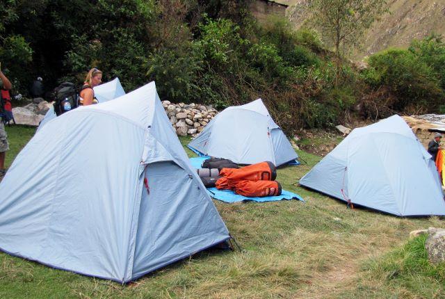 Setting up camp on the Inca Trail in Peru